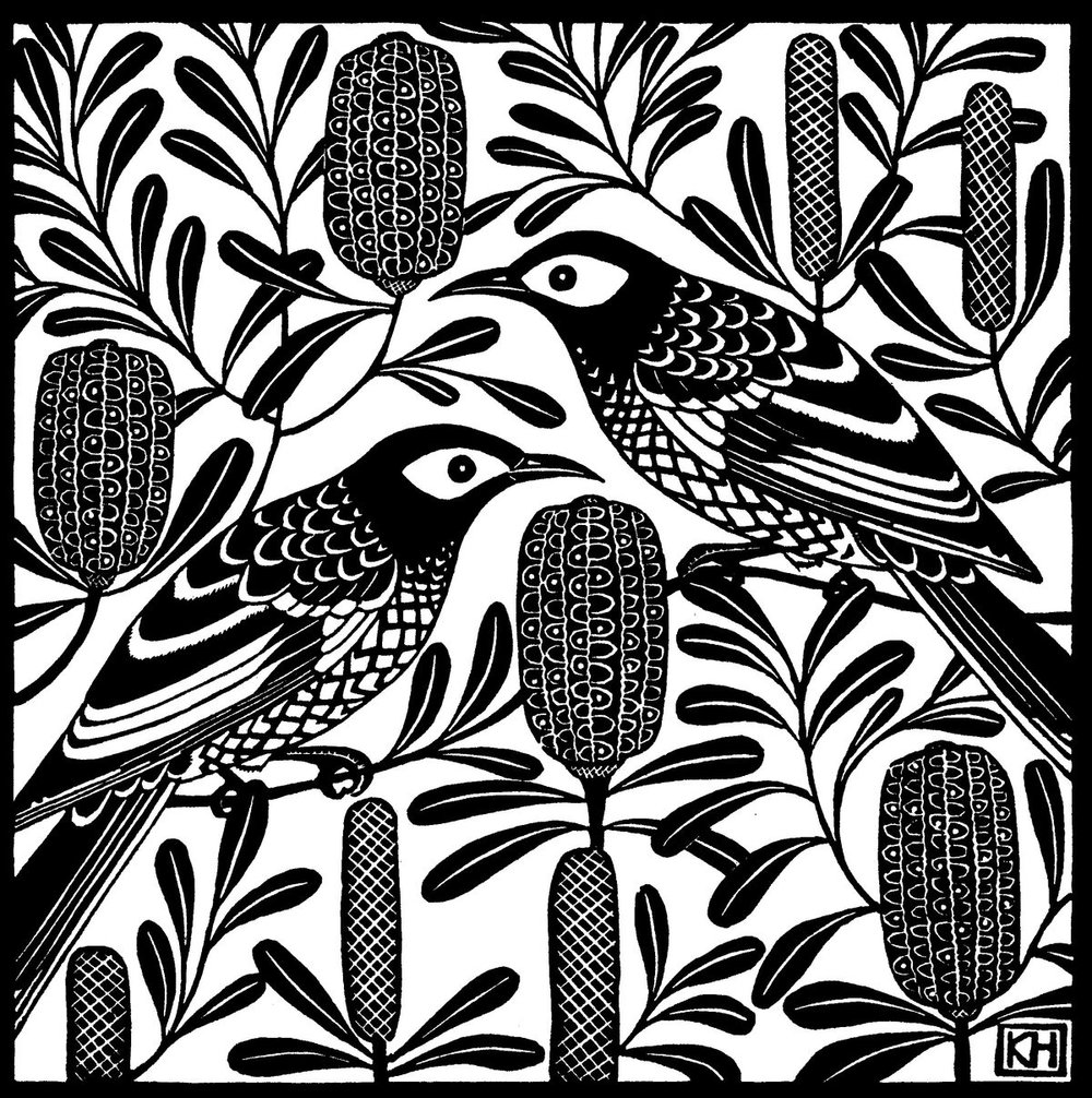 ' Regent Honeyeater Silver Banksia', Kate Hudson.