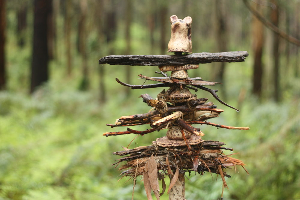 One of ten Totems of the Forest created by schools and youth groups under the guidance of Avis Gardner. Image:Alex Mullarky