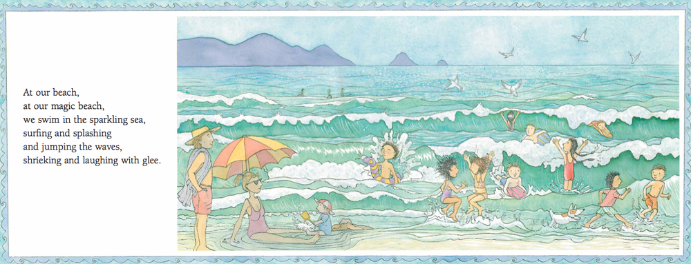 'We swim in the sparkling sea' from Magic Beach by Alison Lester (Allen & Unwin, 1990).