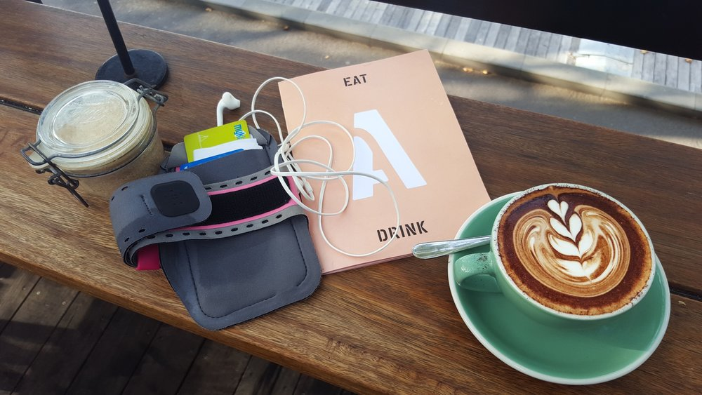 A well-deserved coffee break after running. Image: Cathy Cavallo.