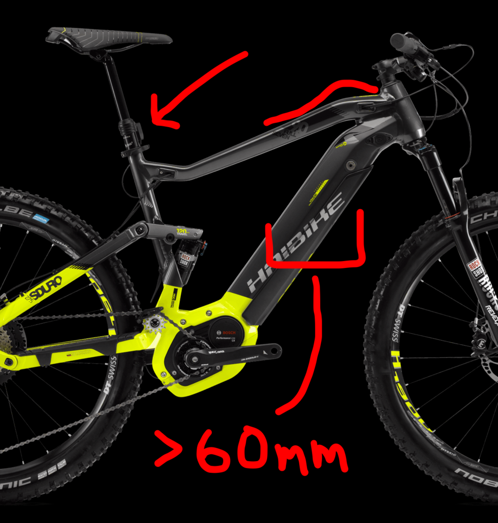 E-Bikes are GREAT! - But be careful when examining your e-bike for Mac Ride compatibility, This bike has challenges with--1. An upward curve in the top tube2. A down tube that is too wide3. A mechanism on the dropper post that could interfere with Mac Ride's rear clamp below the post's collar