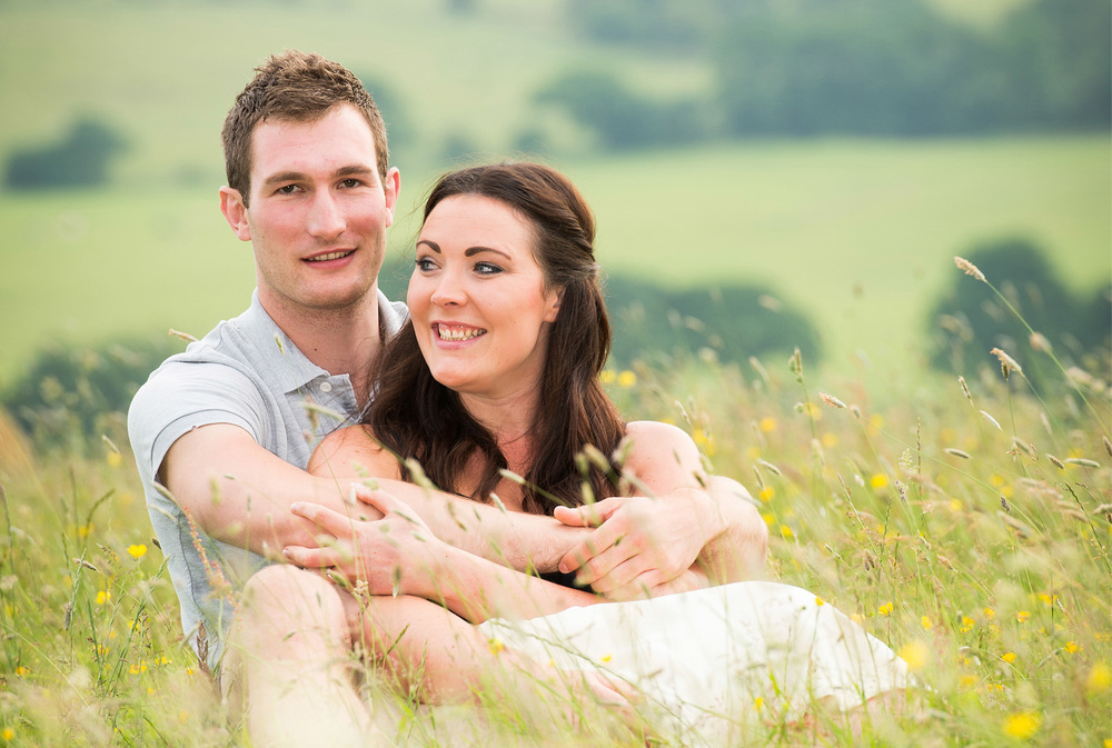 Lancashire wildflower meadow engagement photography
