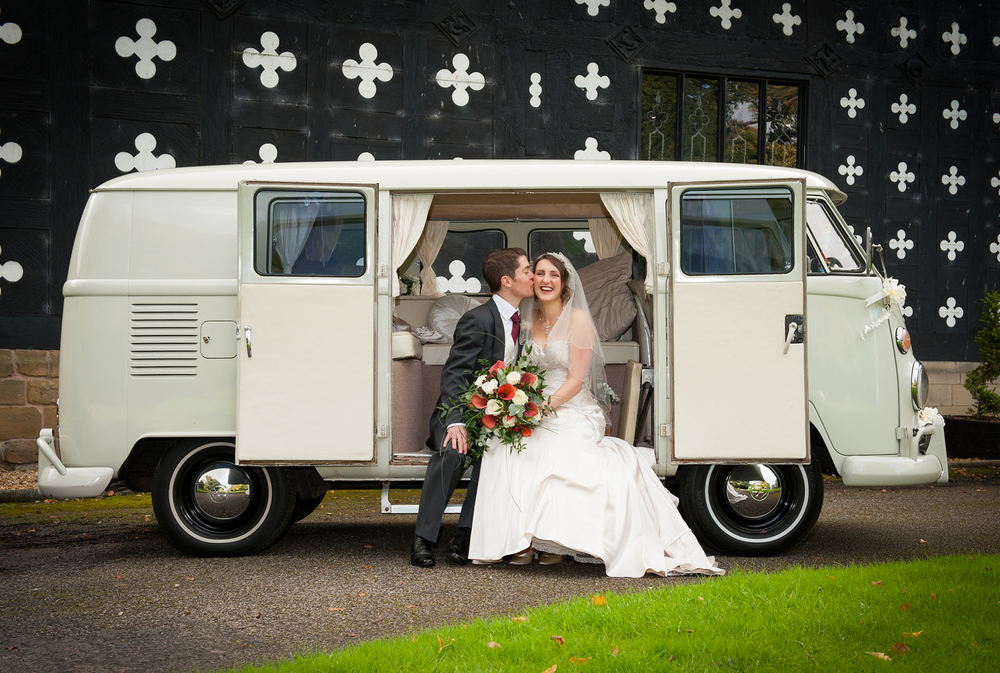 A charming vintage VW Camper Van at Samlesbury Hall was the wedding transport for Kerrie & Robert's wedding.
