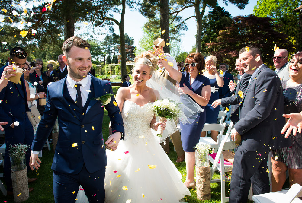 Grace and Tom's romantic outdoor Abbeywood Estate garden wedding ceremony