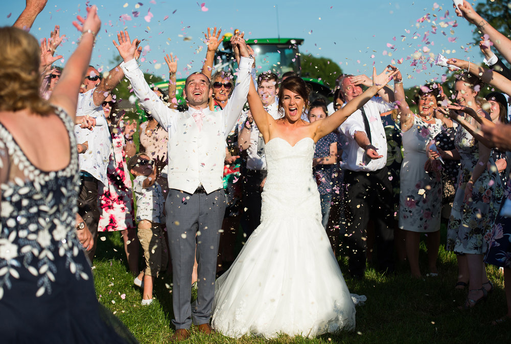 Sarah and Jonny had two lots of wedding confetti. One to be thrown outside Church and one in the field by the wedding marquee.