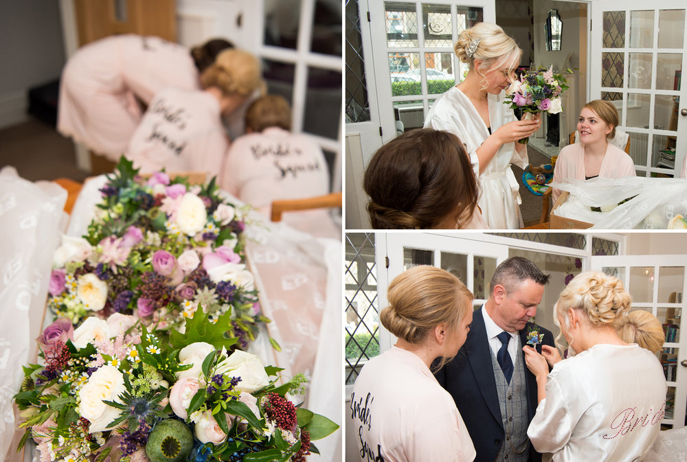 The bridal bouquets were delivered to the house