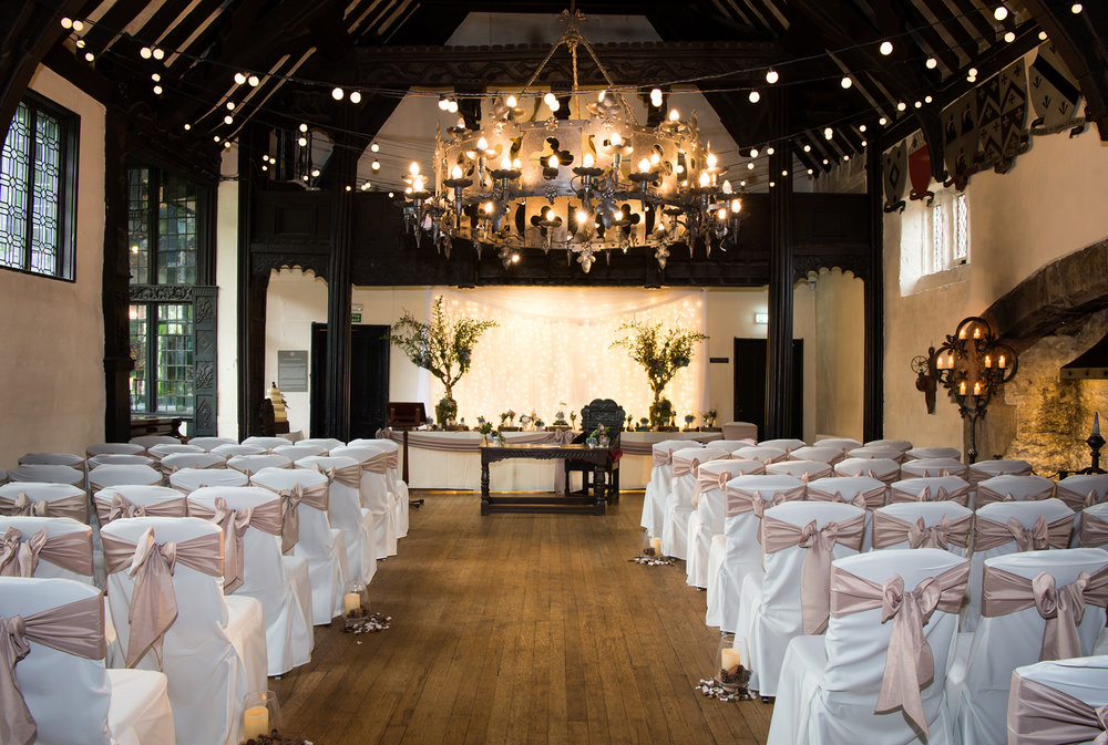 The Grade I Listed Great Hall at Samlesbury Hall wedding decor