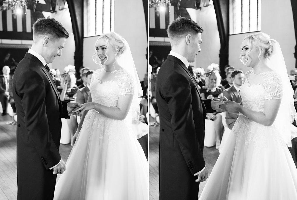 Exchange of wedding rings at Samlesbury Hall