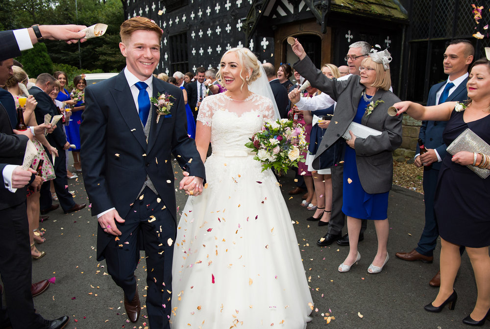 Confetti at Samlesbury Hall near Preston in Lancashire