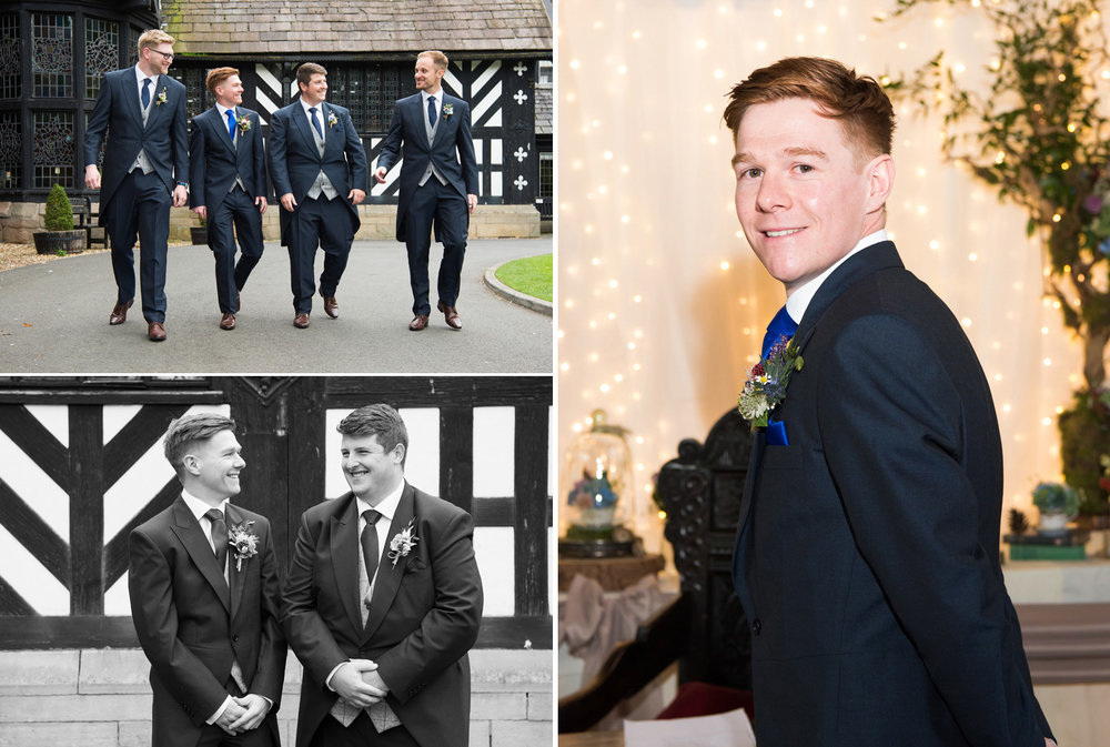 Groom and Groomsmen photographed at Samlesbury Hall Wedding