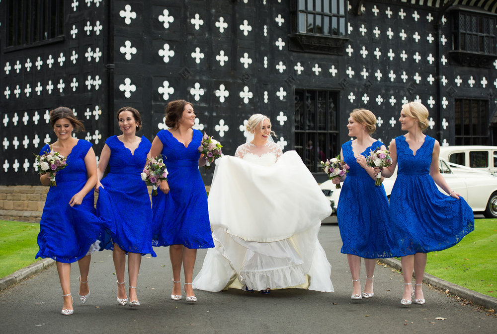 Bride and bridesmaids photographed at Samlesbury Hall