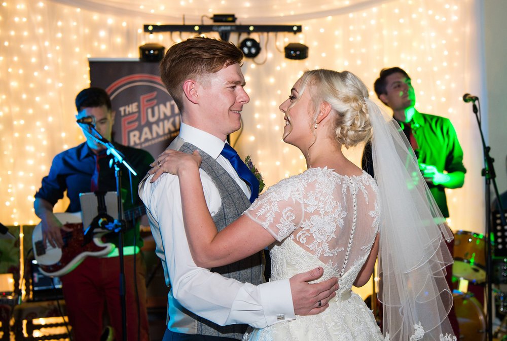 Bride and Groom first dance wedding photograph at Samlesbury Hall