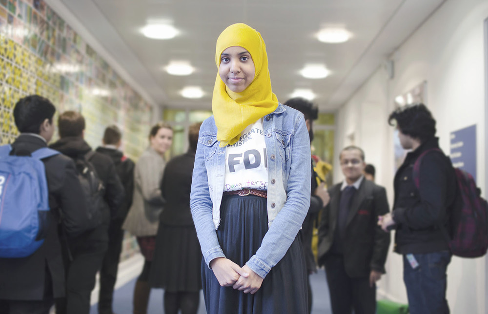 Fahma Mohamed photographed it the corridors of the City Academy Bristol