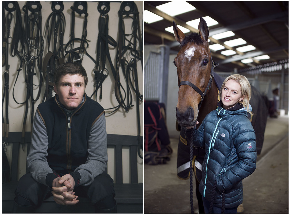 Above and left -  race jockey Nick Scholfield, on the right - race horse 'Tea For Three' and trainer Rebecca Curtis . Shot for the Times Sport.