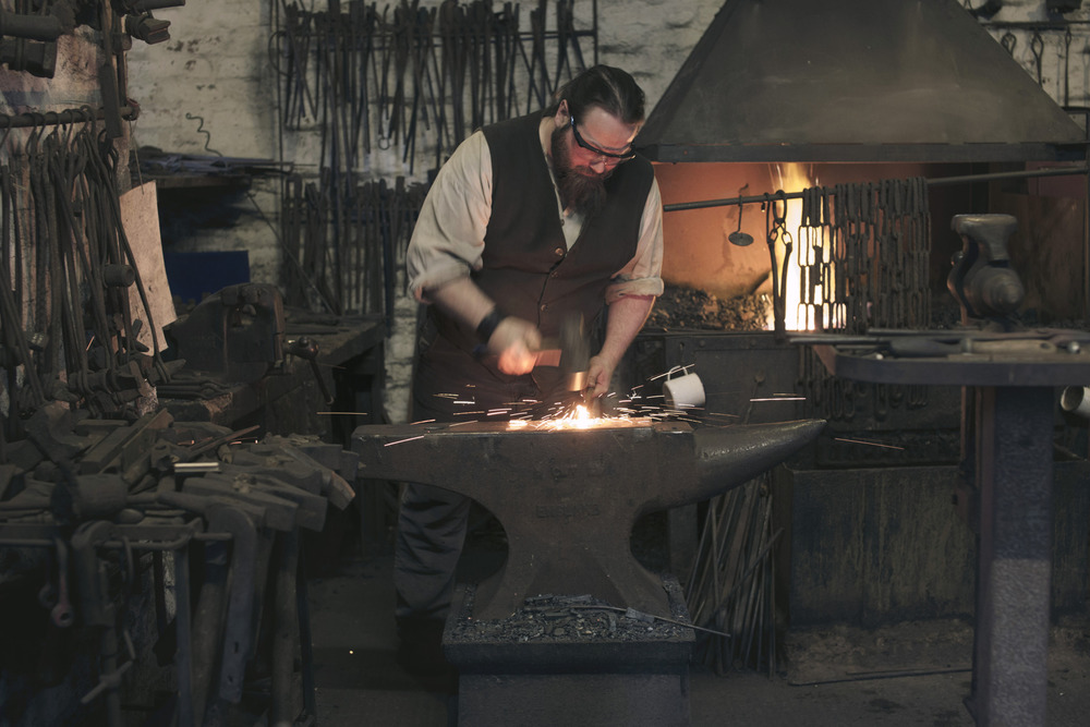 Blacksmith Duncan Cooper who works using only Victorian tools