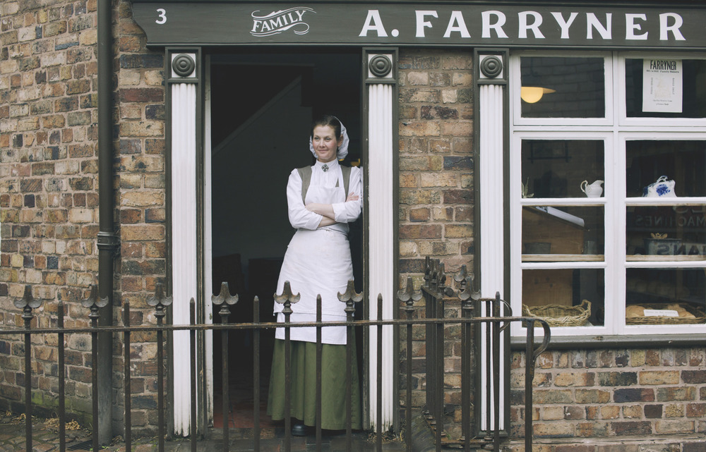 Actor Jo Halstead playing the Bakers Assistant in the Victorian Town Museum 'Blists Hill'.