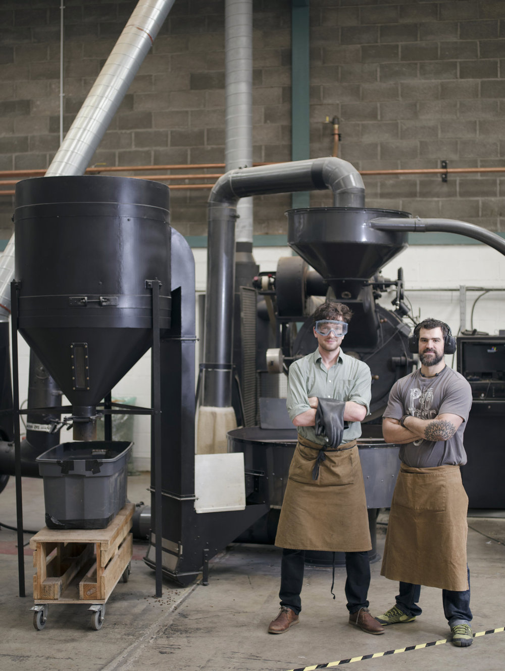 Mikey (left) from Wiper & True with Extract Coffee's head roaster David Faulkner (Right)