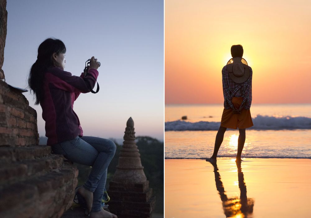 Left - Bagan Sunrise    Right - Ngwe Saung sun set