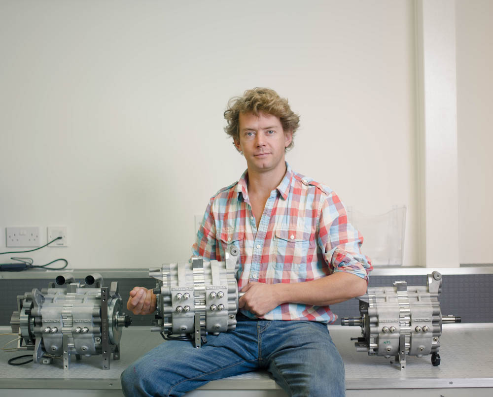 Gilo with one of his companies rotary engines.