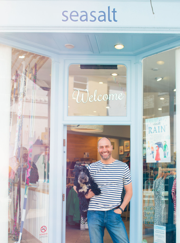 Seasalt Co Founder - Neil Chadwick with his dog Pepe.