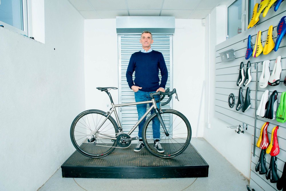 Marco photographed inside Blackboy Hill Cycle shop in Bristol