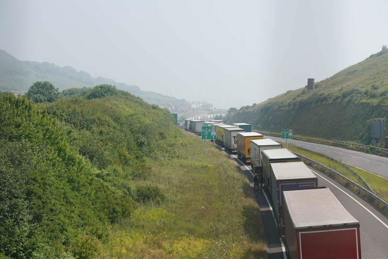 Lorries queuing at Dover Port