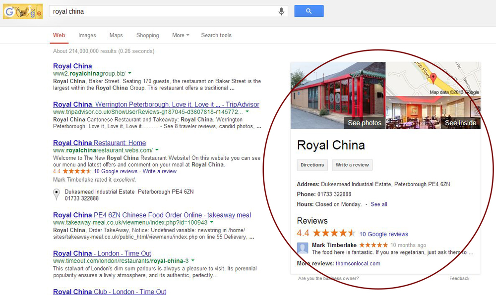 Royal China in search results