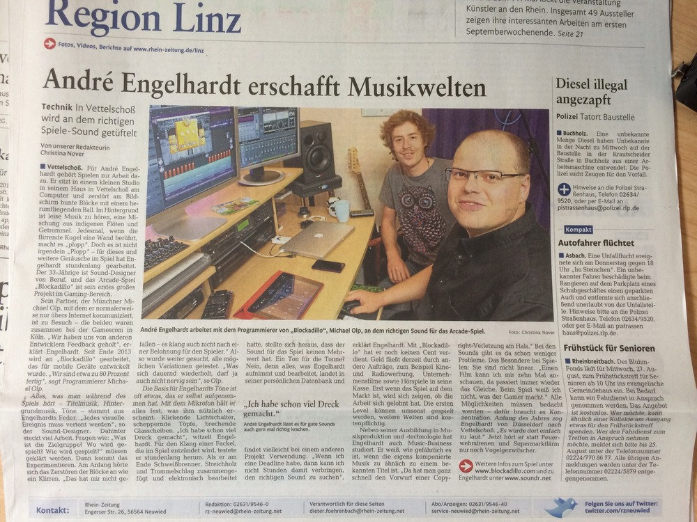 Interview with Michael Olp and myself, André Engelhardt, in the Rhein Zeitung.