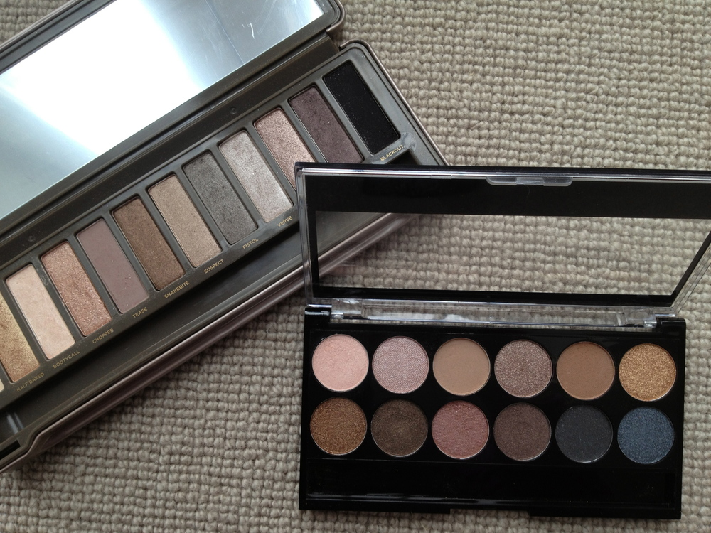 L-R: Naked 2 by Urban Decay vs Undressed by MUA