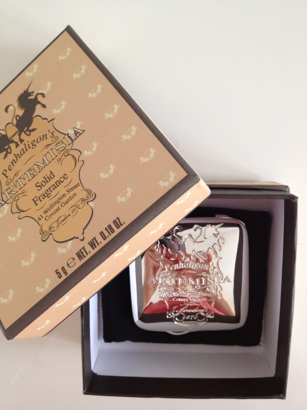 Artemisia solid perfume in silver compact