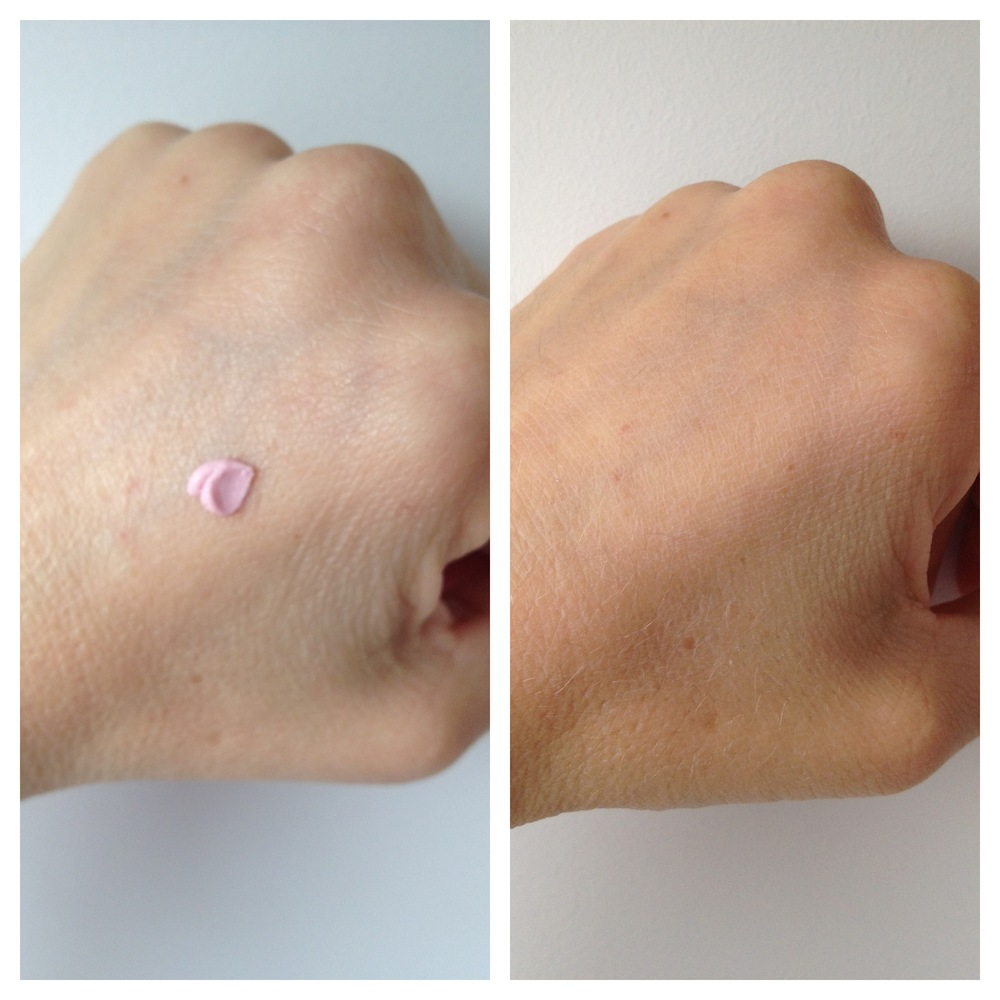 The pink primer as it comes out of the tube and once it has rubbed in and turned translucent.