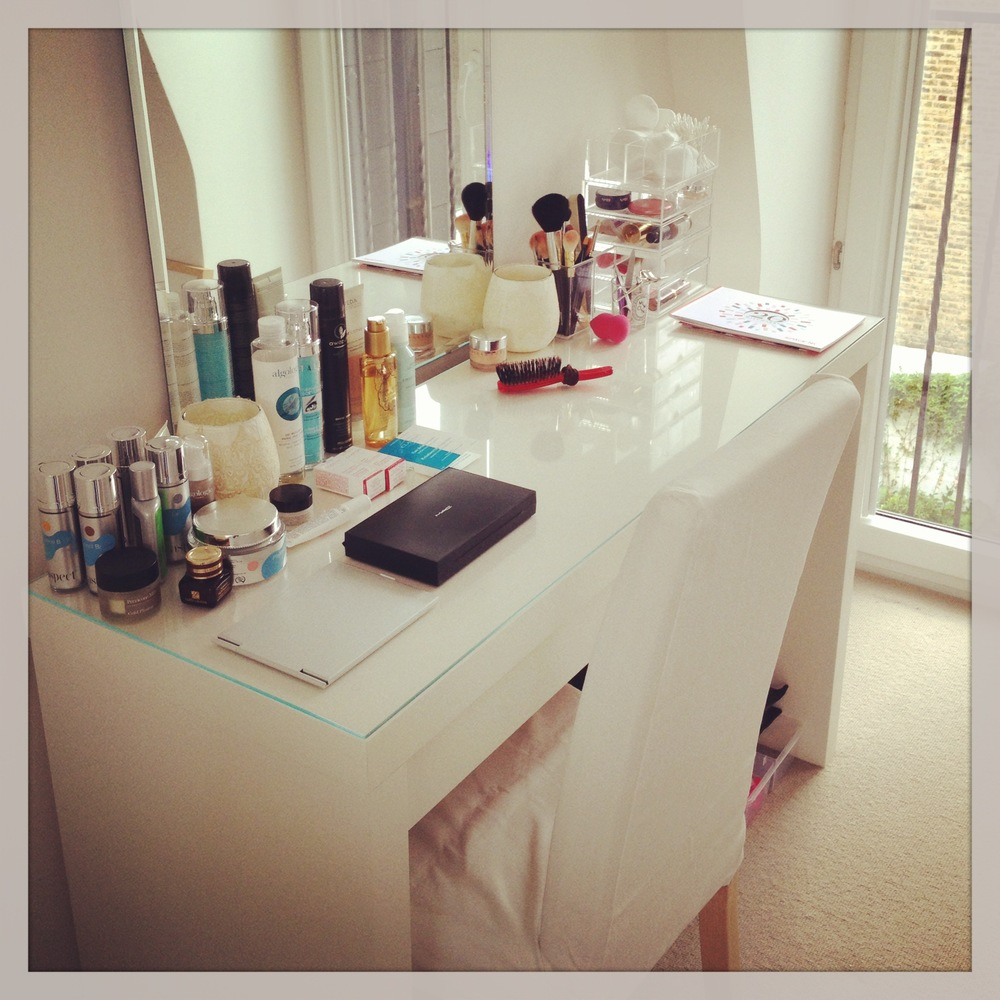 Newly installed makeup table ready to go.