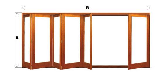 Bifold Door System - Single Light - 6 Door (5 One Way and 1 Other) CodeBFD-SL-6P-5N1