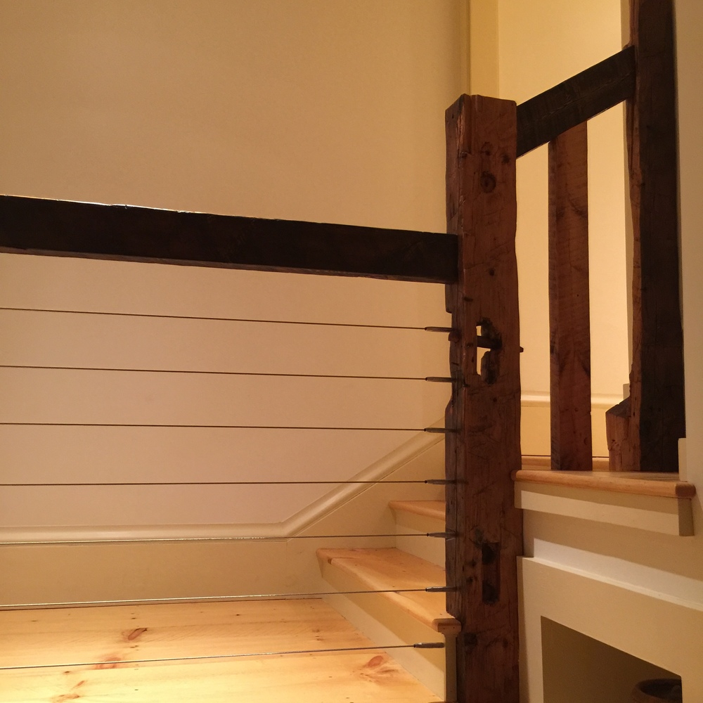 More of the newel posts from reclaimed beams.