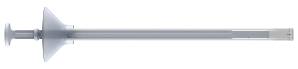 KG1 SPECIFICS :  Length : 21 cm •  Height : 8 mm •  Width : 12 mm •  Cannula Volume : 7 ml •  Funnel Volume : 10 ml