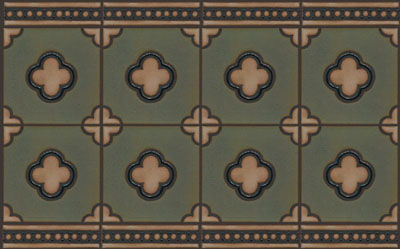 5-Clover in repeat - Tavira Color Palette - black line.  Shown with 2x8 beaded border