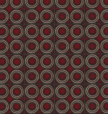 4-Circle Deco in repeat. Dafi Color Palette: Sangria + Limestone - black line