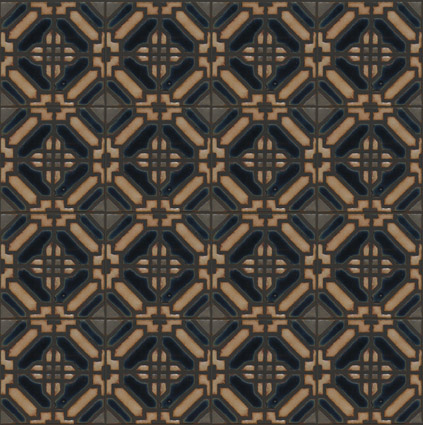 Lattice I in Iznik Color Palette Colors: Limestone, Night Sky, River Rock