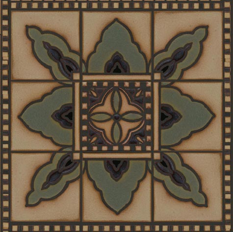 Barcelona Border shown with Oaxaca Deco in center and Venetian border 1/2 x 6 on outer edge.  Tavira Color Palette - black line