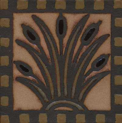 Cattail Deco 6x6  Canyon Color Palette - black line  Also available in 8x8 with or without notched border