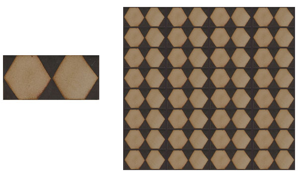 Hex Border 4x8 Limestone Can be used as border or allover pattern