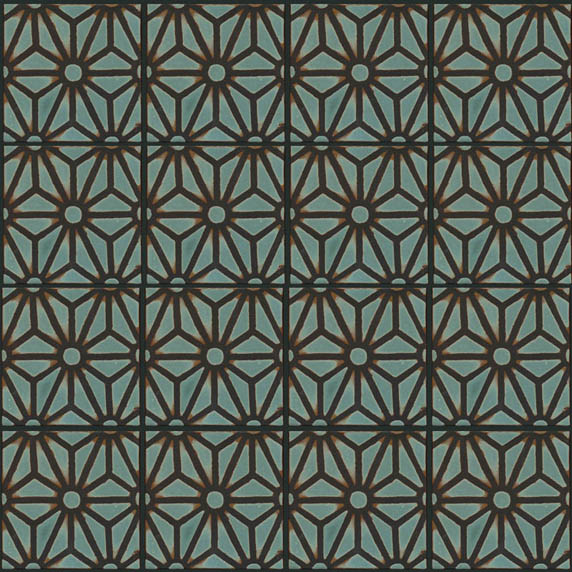 STAR LATTICE 6x6 repeat in Ocean with black line
