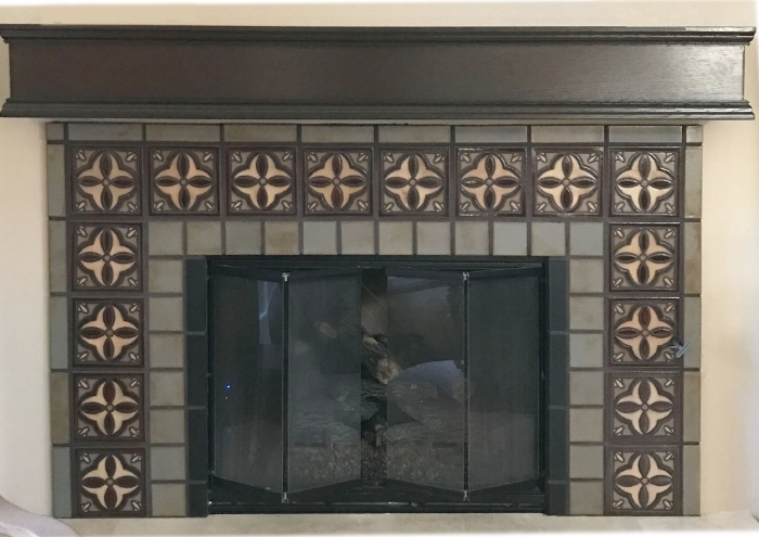 Custom Fireplace Designed by Louise Wade Interior Design, sold through Mission Tile West in Costa Mesa 6x6 Oaxaca Deco: Ivory, Sangria, Celine. Field Surround: Celine.