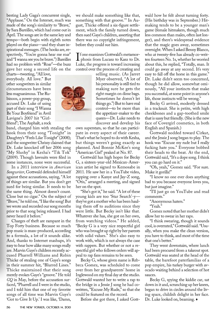 New Yorker Magazine, October 14th 2013