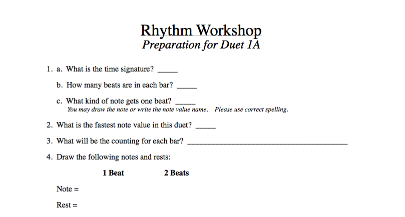 All 24 preparation pages follow the same format. It is a format that helps students prepare for all performance settings. Answering the opening 4 questions in order is essential for understanding the basic rhythm structure for any music. Students may answer questions 5, 6 and 7 in any order.