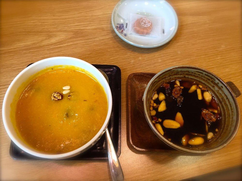 Pumpkin juk and ginseng tea