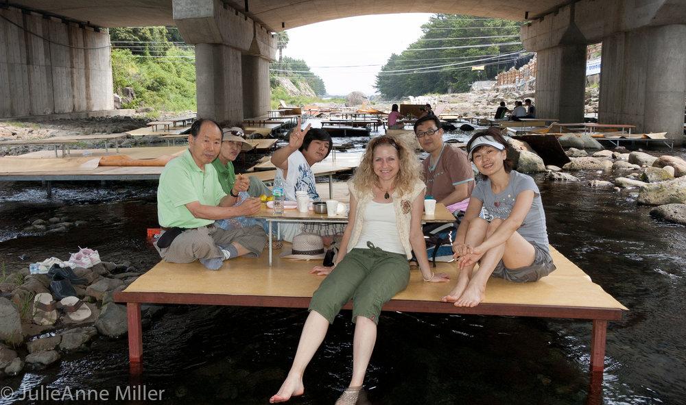 dining in a stream, Jeju Island