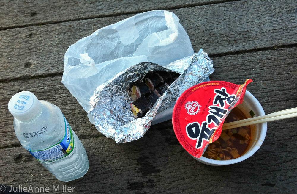 kimbap and ramen, 한라산, Jeju Island