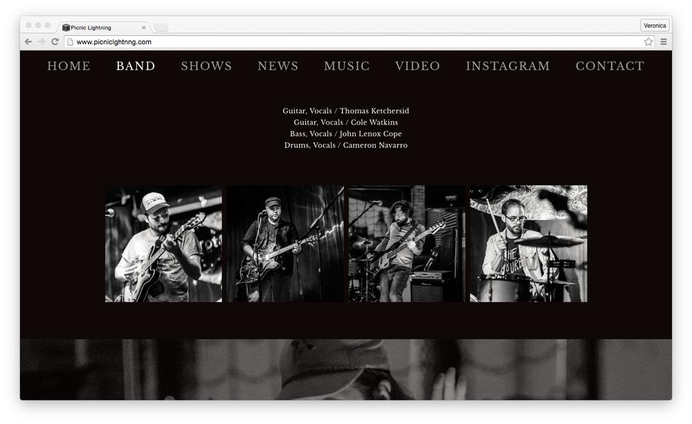 Picnic Lightning website, Summer 2016