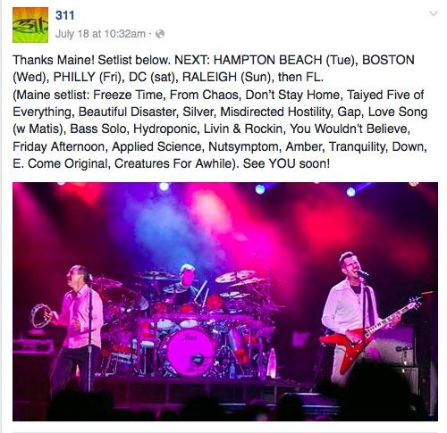 311, Facebook promotions, Summer 2016
